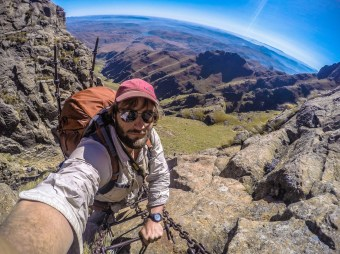 Chain Ladder Selfie. The best and quickest way onto the High Drakensberg. Where else can you climb a chain ladder where you start in one country and end in the other?