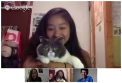 One of our (many) Google hangouts, featuring a cat and the coolest Spaniard you'll ever meet - Lucas!
