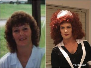 Comparison on me (dressed as Magenta from Rocky Horror Picture Show) and my mum in the nineties