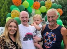 Family portrait at 1st birthday celebrations
