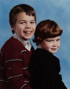 Mr brother and I posing for a school photo