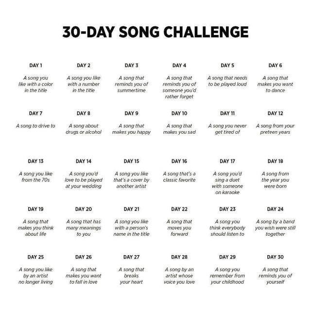 30 day song challenge list