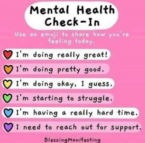 A mental health check in chart