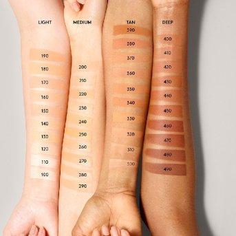 Fenty Beauty pro filtr soft matte longwear foundation Swatches for WOC, POC, Dark skin, Brown skin, Medium skin, Black people, Brown people