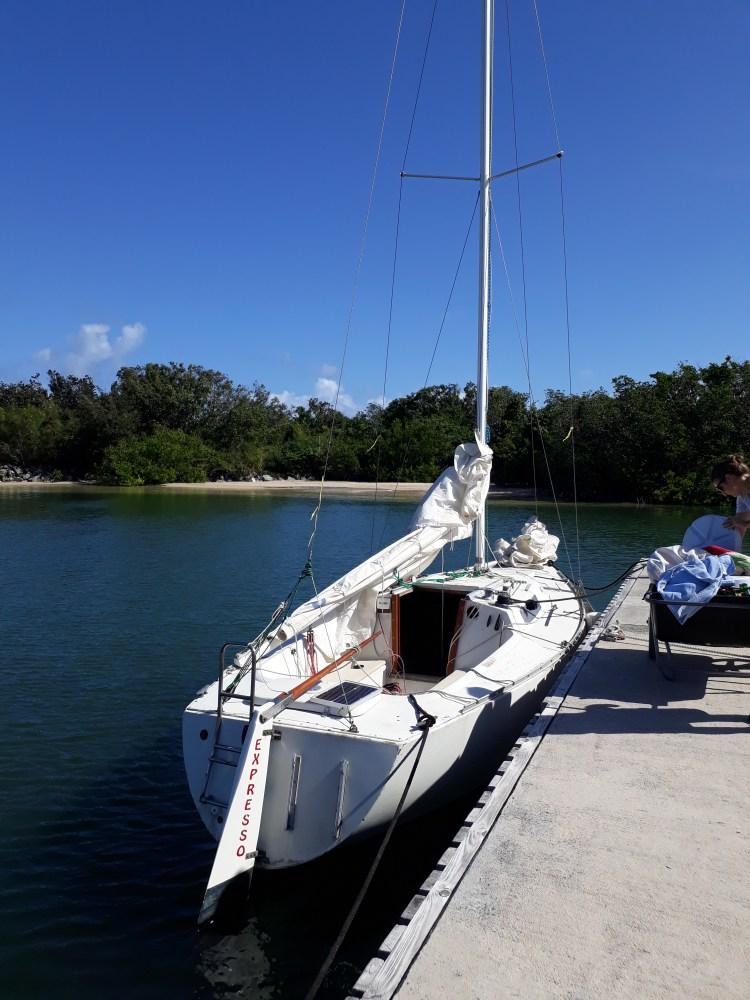 Boat alongside the dock in the Virgin Islands