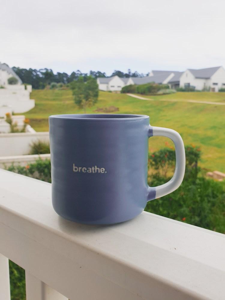Woolworths breathe mug, blue mug with writing, blue mug, essential coffee terms, coffee lovers