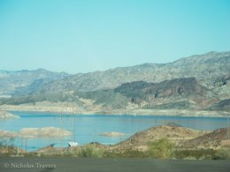 A view of Lake Mead from the freeway