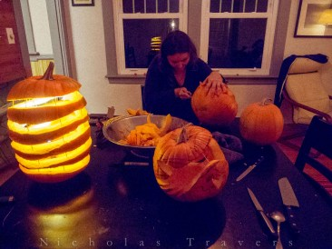 pumpkins, knives, candles, and tooth-picks!