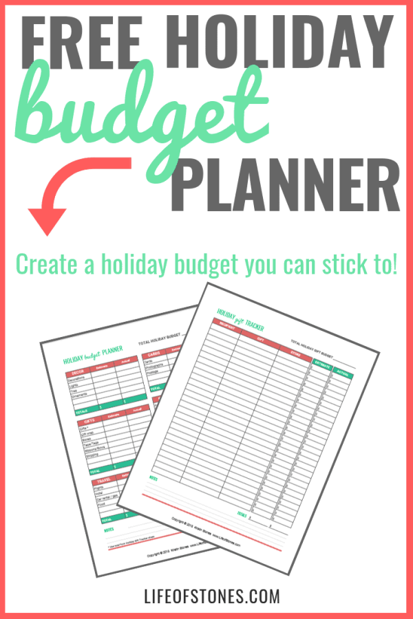 Do you struggle with your holiday budgeting? Check out this free holiday budget printable! Click through for some super helpful holiday budgeting tips and download this free holiday budget planner to help you create a Christmas budget and keep you organized through the holiday season! #holidaybudget #Christmasbudget #howtobudget #budgeting #lifeofstones