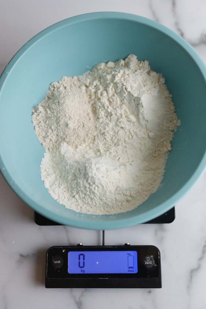 Using a digital scale allows accurate measuring for baking.