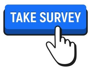 Hand Mouse Cursor Clicks The Take Survey Button. Pointer Push Pr