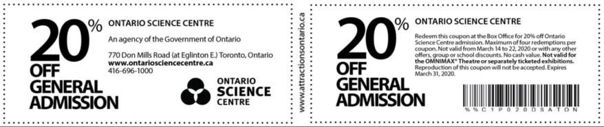 Ontario Science Centre Coupon