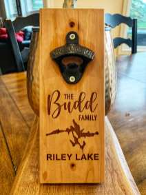 Maple or Cherry Wood Wall Mounted Bottle Opener $45 each with personalized engraving.