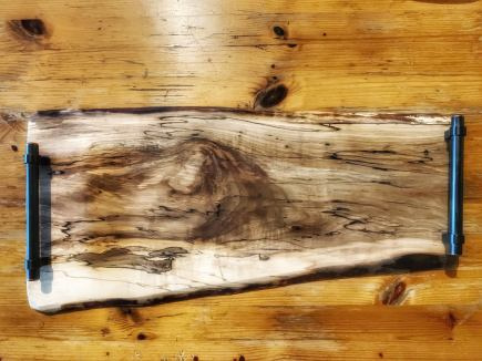 Live Edge Maple Charcuterie Board with handles and personalized laser engraving 21.5 by 8 to 10 inches $155