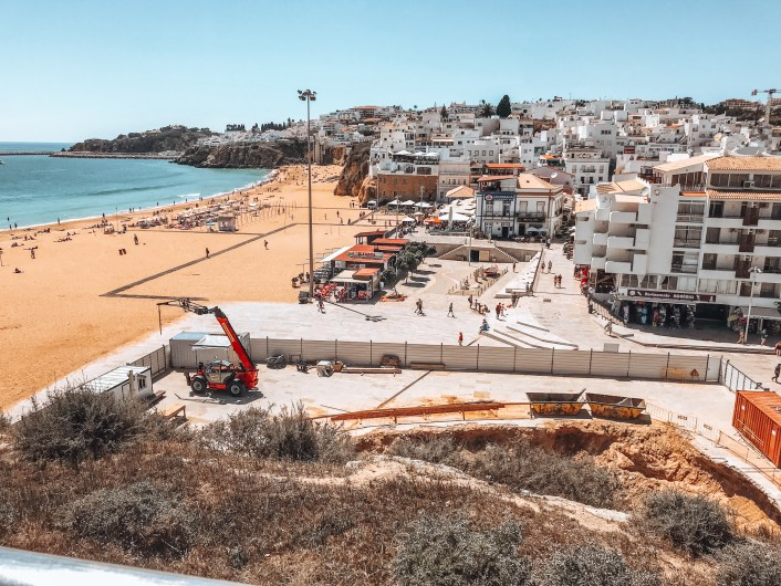 white washed houses and the beach