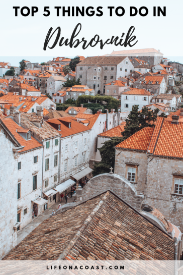 orange roof tiled houses with overlay text-Dubrovnik
