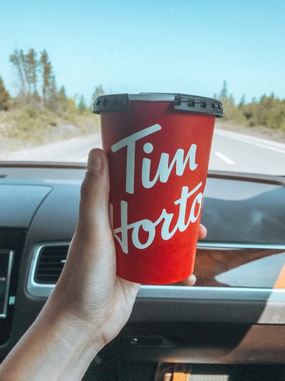 One cup of tim hortons coffee