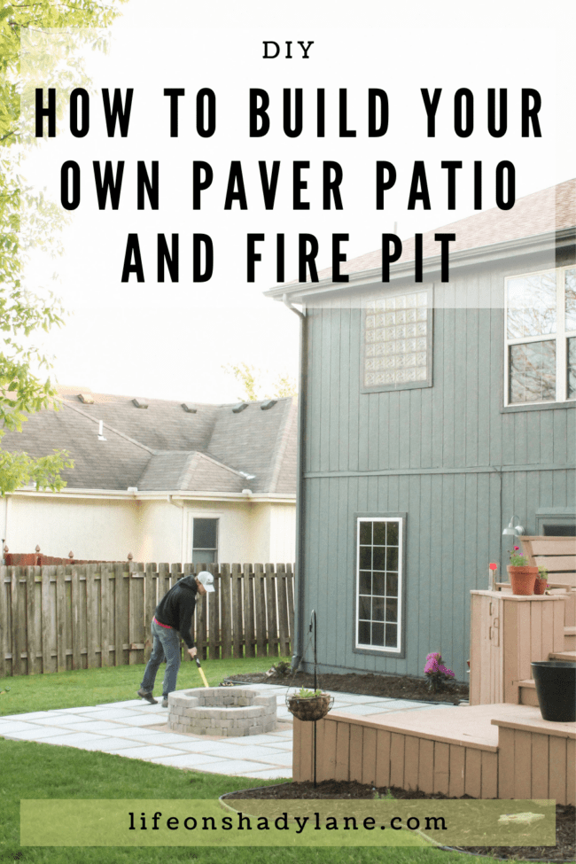 diy patio with grass between pavers and