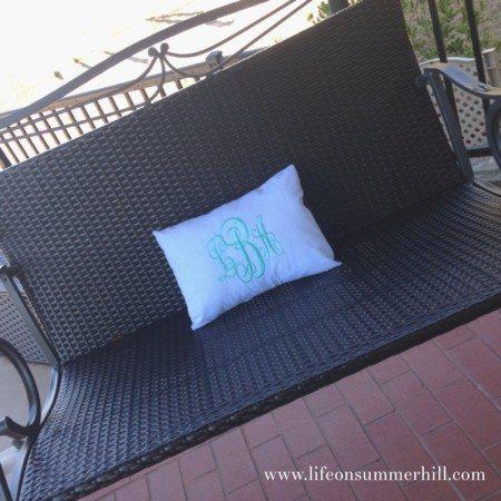 Monogram Seersucker Pillow www.lifeonsummerhill.com