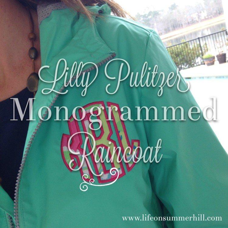 Lilly Pulitzer monogrammed raincoat www.lifeonsummerhill.com