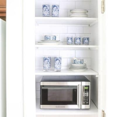 hidden microwave in pantry