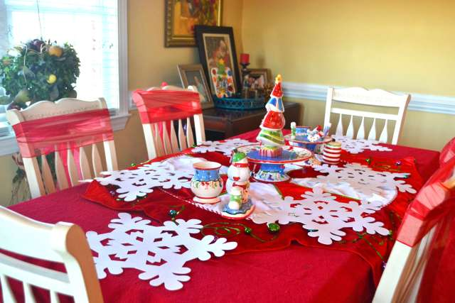 I love this whimiscal Red and White Christmas Table Scape using a red tablecloth and a tree skirt!
