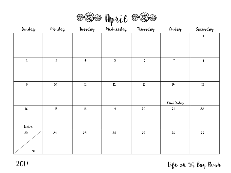 Free printable calendar for April! Check it out!