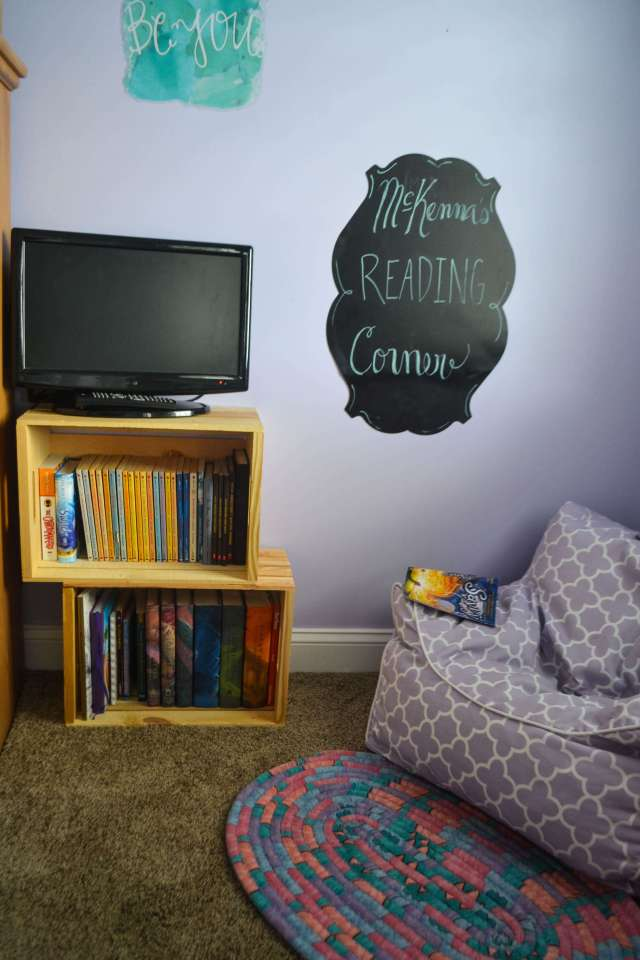 Super easy and cheap reading nook for a kids room. Two $10 crates from Walmart and a bean bag.
