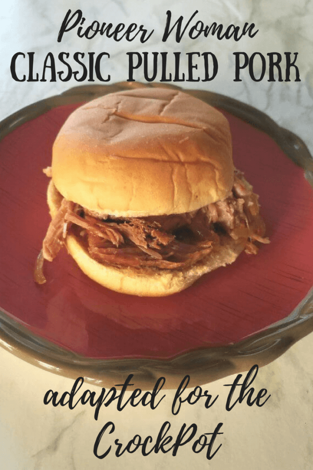 Do you love the Pioneer Woman's Classic Pulled Pork? This is a version adapted for the CrockPot! It is so good! Cooked from a Boston Butt! #pulledpork #pioneerwoman