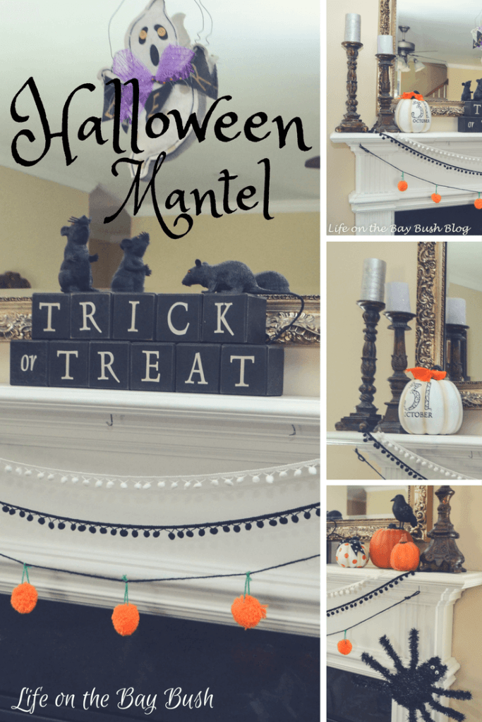 Such a cute Halloween Mantel from Life on the Bay Bush! I love the bunting and the cute spider!