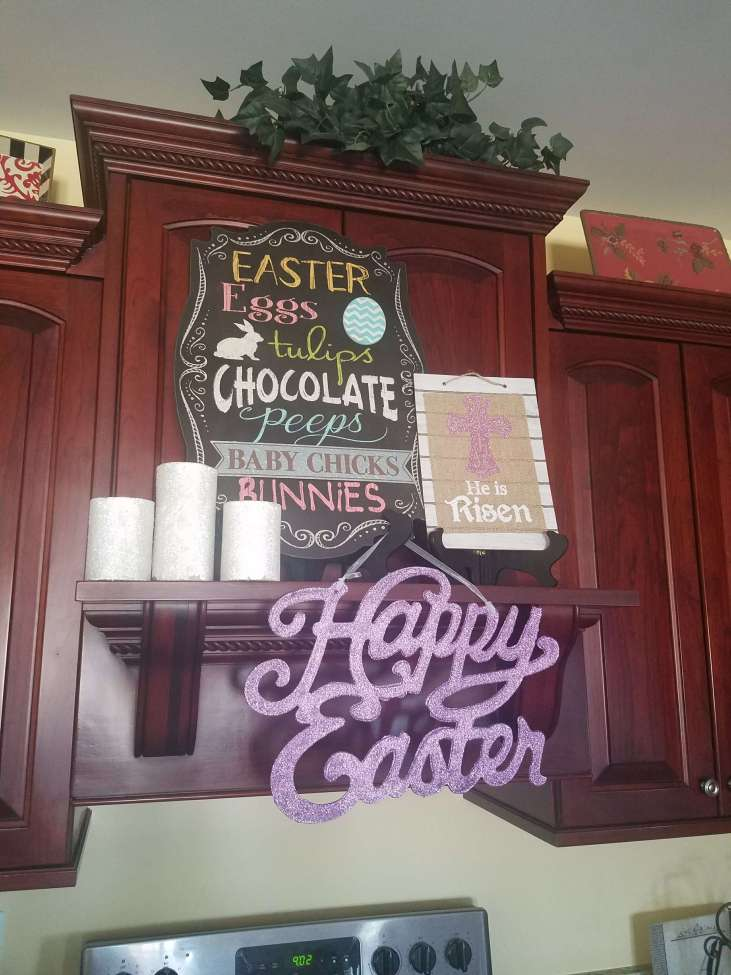 Easy Kitchen Mantel for Easter using Dollar Store items!