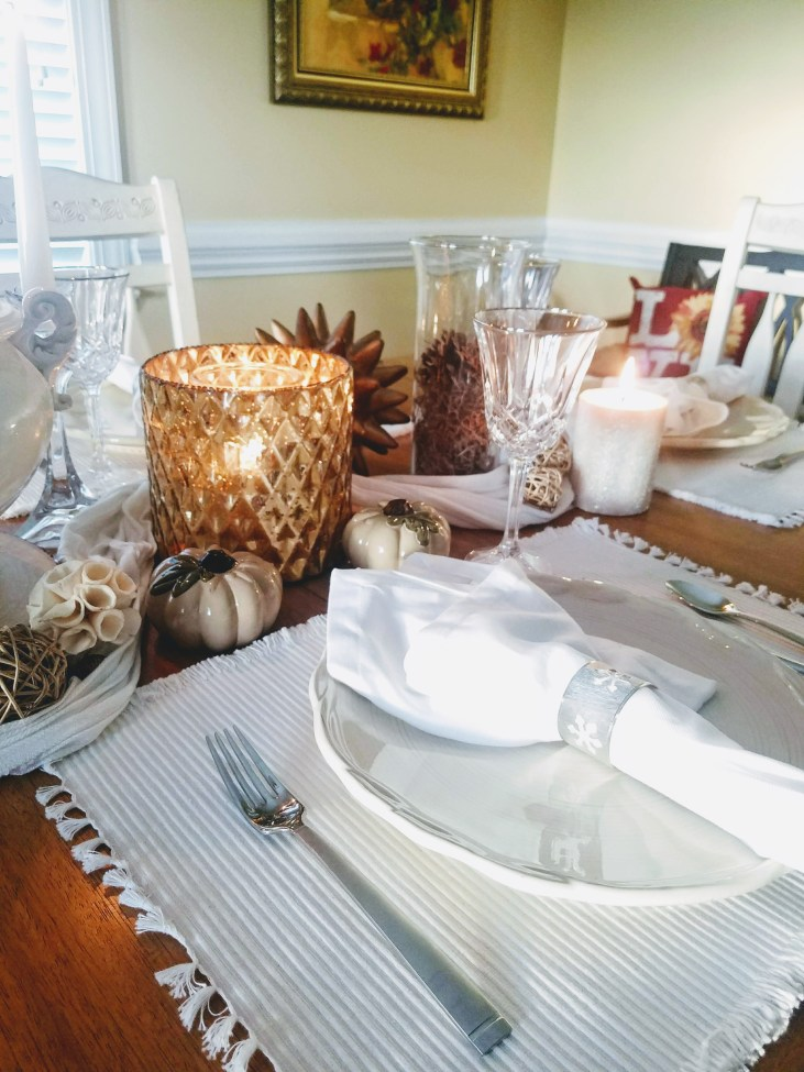 Gold, White and beige Fall table