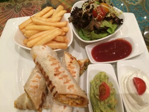 Quesilladilla - stye wrap with guacamole and sour cream