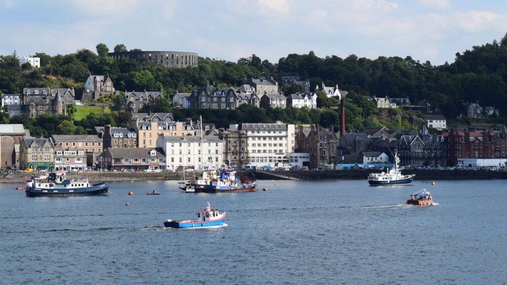 The bustling Oban Bay from the MV Clansman