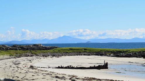 The view across the wreck of the Mary Steward to Mull