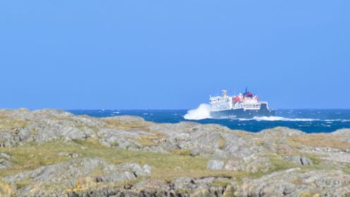MV Clansman leaves the Sound and enters the Little Minch
