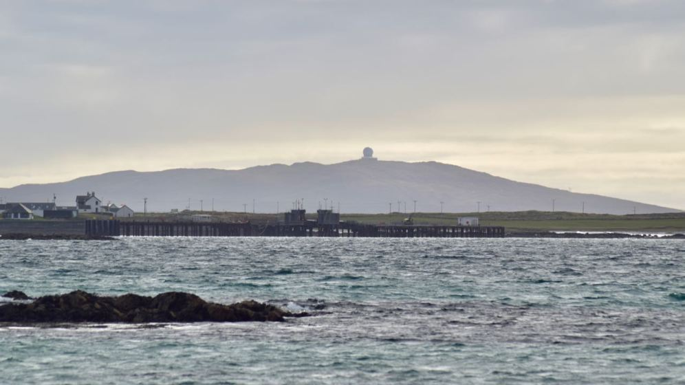 Looking across the pier to the Golf Ball on Ben Hynish