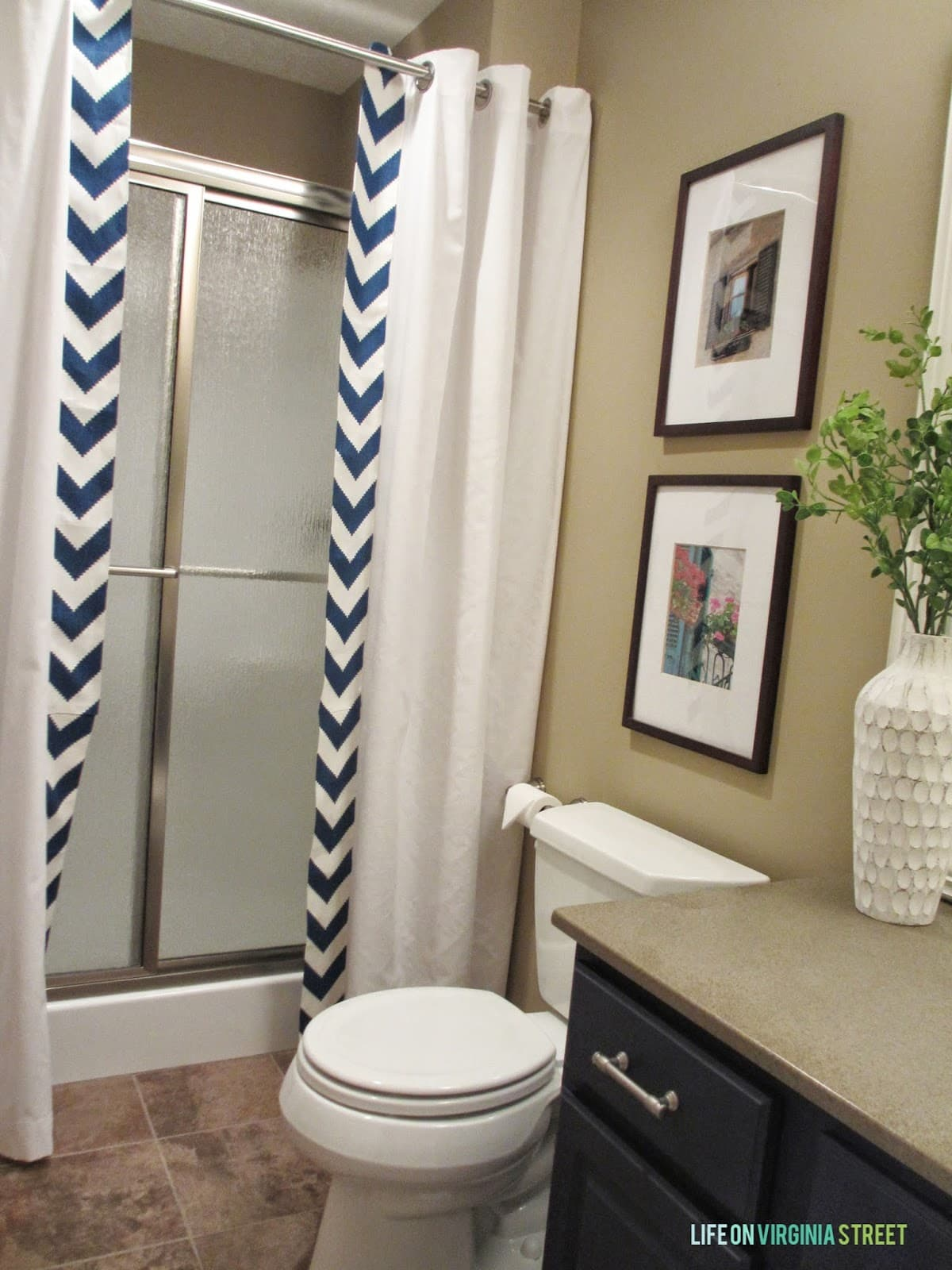 Guest Bathroom NoSew Shower Curtain Tutorial  Life On Virginia Street