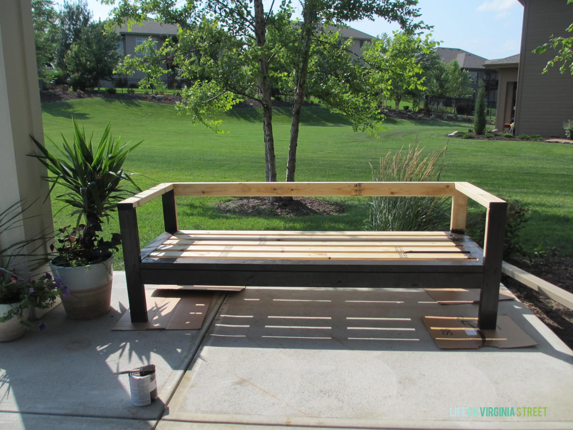 diy outdoor sofa table french connection quartz review wood patio furniture white