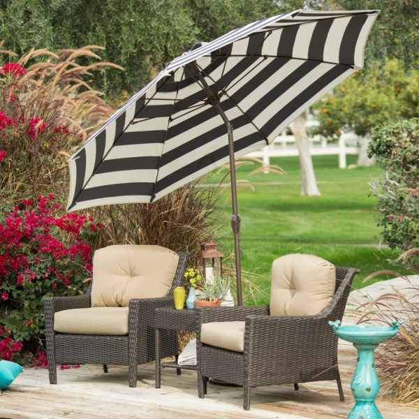 Striped Patio Umbrella Canopy