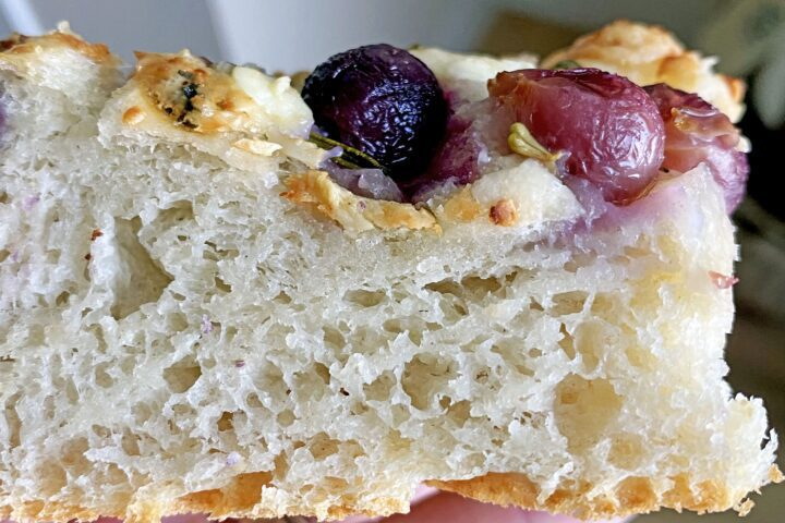 Pear, Grape and Blue Cheese Focaccia Bread