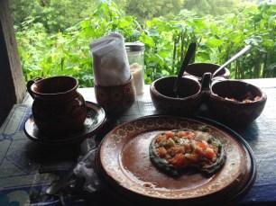 Sope with potato and chorizo
