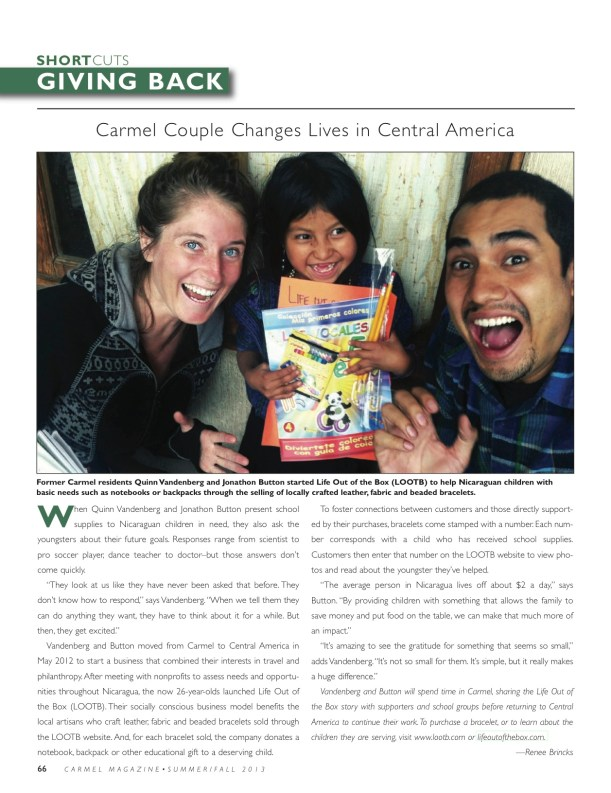 Carmel Magazine- Carmel Couple changing lives in Central America. LOOTB Press.
