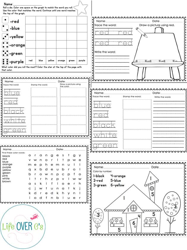 Color Recognition Math & Literacy Pack: 15 Activities