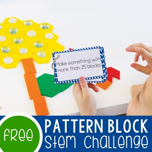 small resolution of Pattern Block STEM Challenge Cards Free Printable -