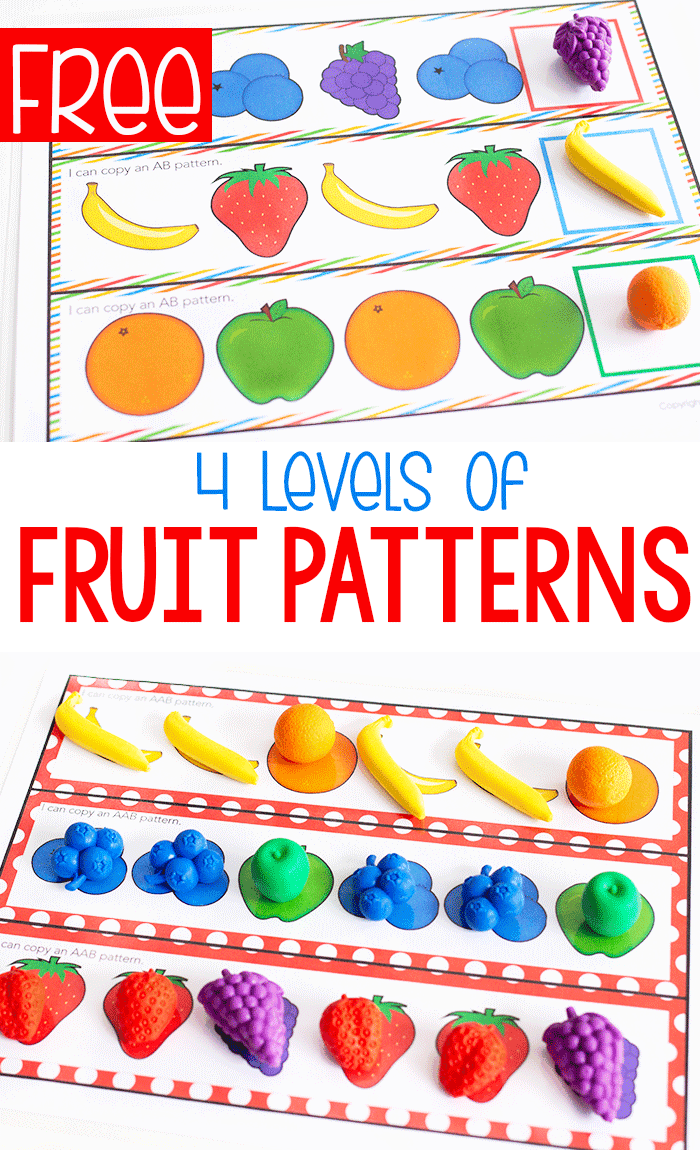 medium resolution of Free Printable Fruit Themed Pattern Activity -