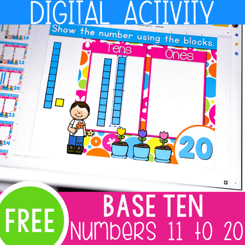 small resolution of Spring Base Ten Blocks Math Activity for 11-20 -