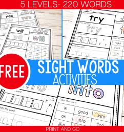 5 Levels: Free Print and Go Sight Word Worksheets - [ 1000 x 1000 Pixel ]