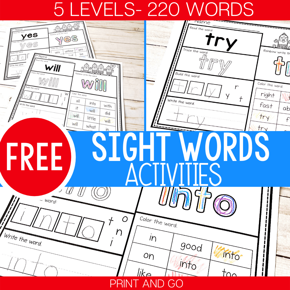 hight resolution of 5 Levels: Free Print and Go Sight Word Worksheets -