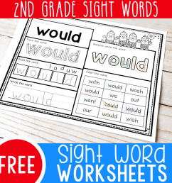 Free Printable Second Grade Sight Words Worksheets - [ 1000 x 1000 Pixel ]